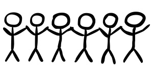 Team aus 6 Strichmnnchen, die sich an den Hnden halten, Vektor